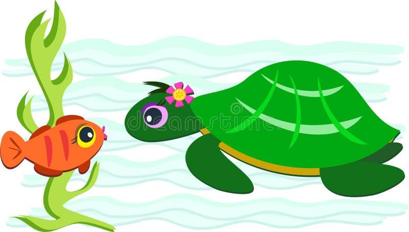 Green Turtle and Orange Fish vector illustration