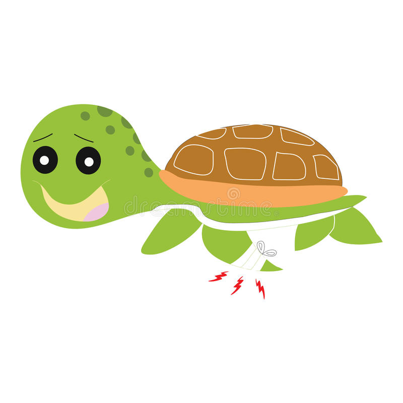 Green turtle painful isolated royalty free illustration