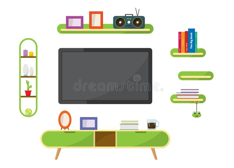 Green TV table with decorative furniture objects. stock photo