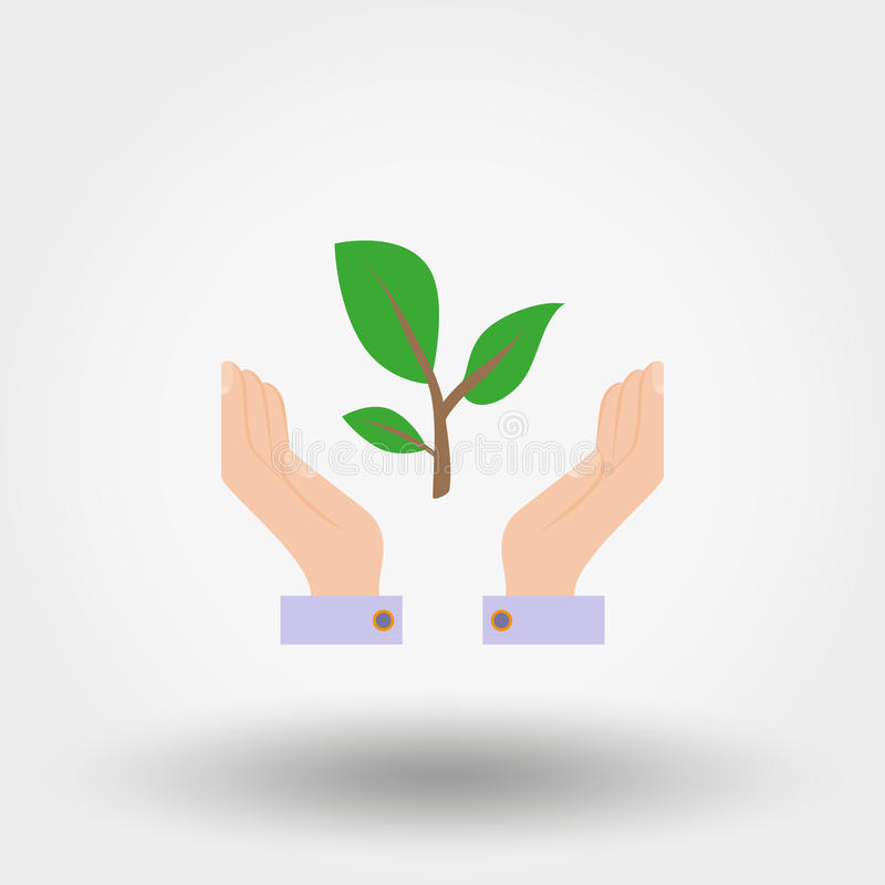 Green twig in a hand. Sign of environmental protection. vector illustration