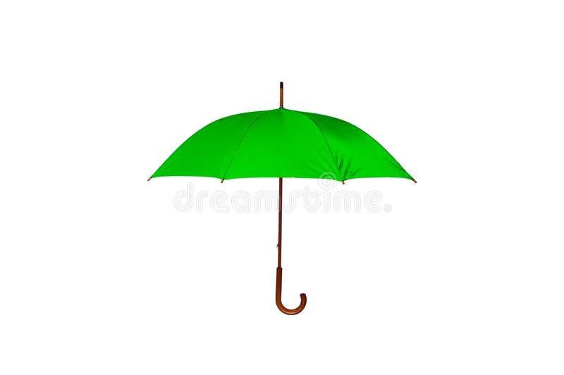 Green Umbrella Center on White Background. Green Umbrella with Wooden Curved Handle Center on White Background stock photography