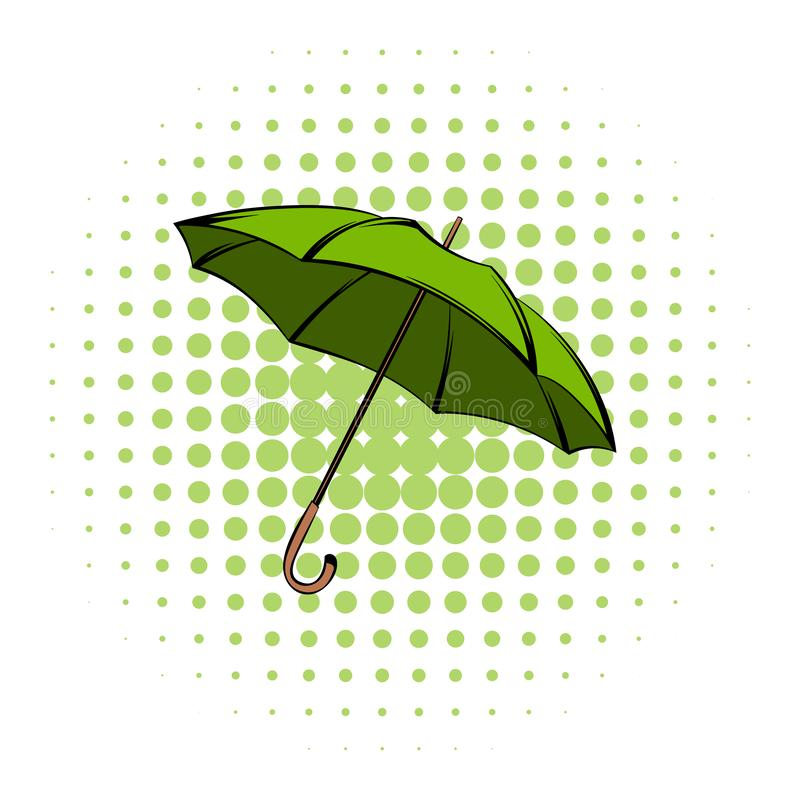 Green umbrella comics icon. Ecology symbol on a white background royalty free illustration