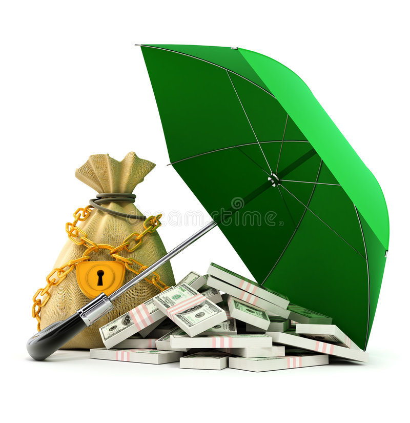 Download Green Umbrella Protecting Money From Rain Royalty Free Stock Photography - Image: 5326637