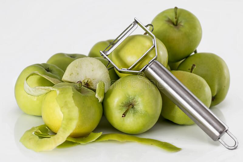Green Unripe Apple With Silver Peeler Free Public Domain Cc0 Image