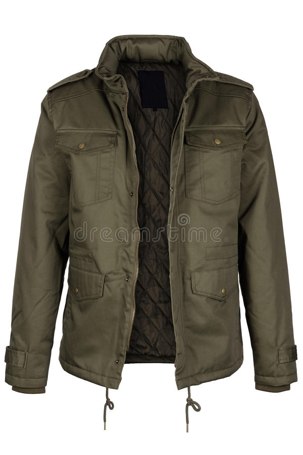 Green unzipped warm jacket royalty free stock images