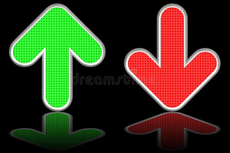 green up and red down arrows on stock illustration