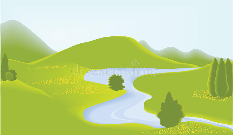 Download Green valey stock vector. Image of landscape, picture - 12125758