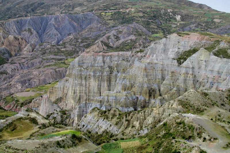Green valley and canyon with rock formations near La Paz in Bolivia stock image