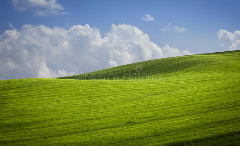 Green valley. Green valley and cloudy sky stock photography