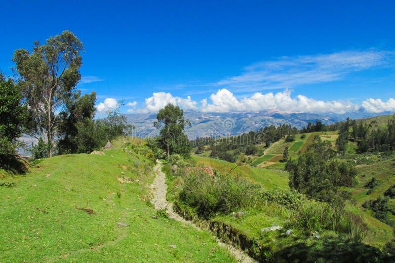 Green valley landscape. Green valley hills bright landscape stock images