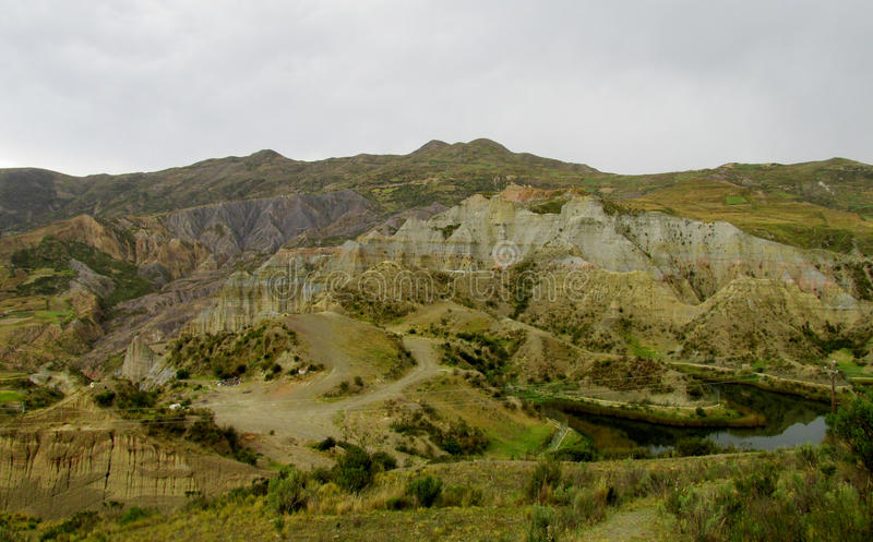 Green valley and rock formations near La Paz in Bolivia. Green valley and rock formations. Valle de las Animas rock formation cliff towers near La Paz in Bolivia royalty free stock photos