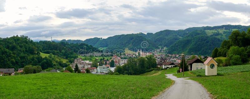 Zagorje ob Savi, city landscape panorama. Green valley with small town Zagorje ob Savi stock photo