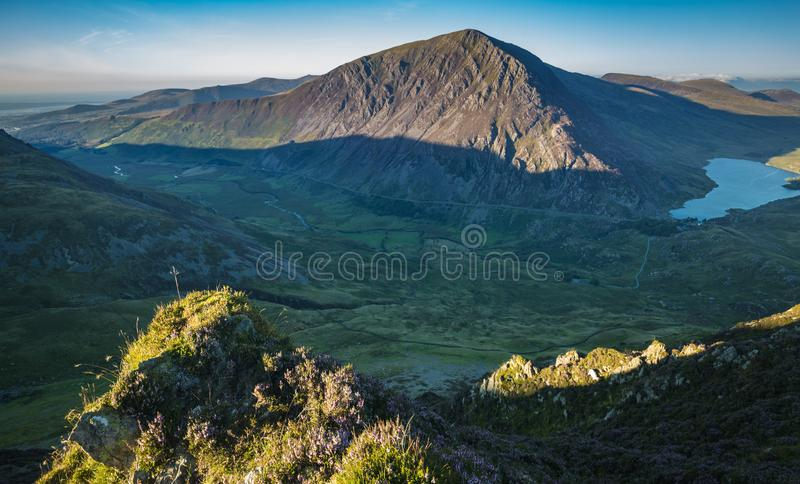 Green Valley of Snowdonia in North Wales, UK royalty free stock image