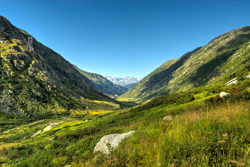 Green valley in the swiss Alps stock photos