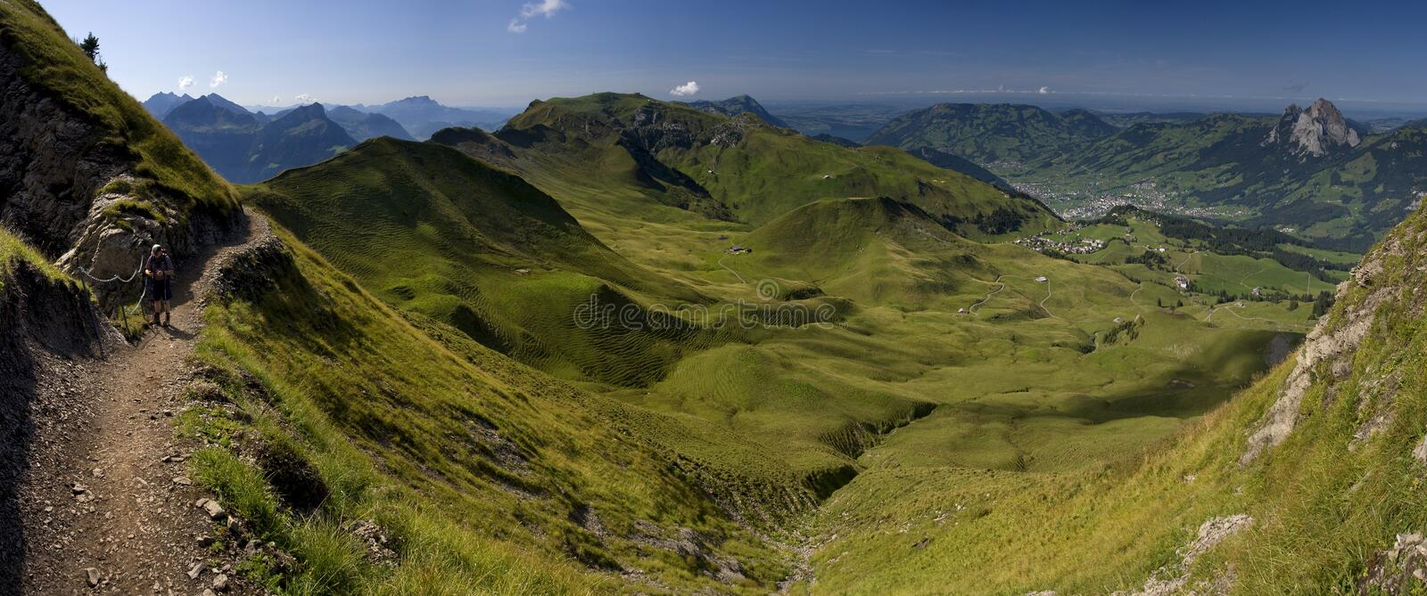 Green valley in Switzerland royalty free stock photo