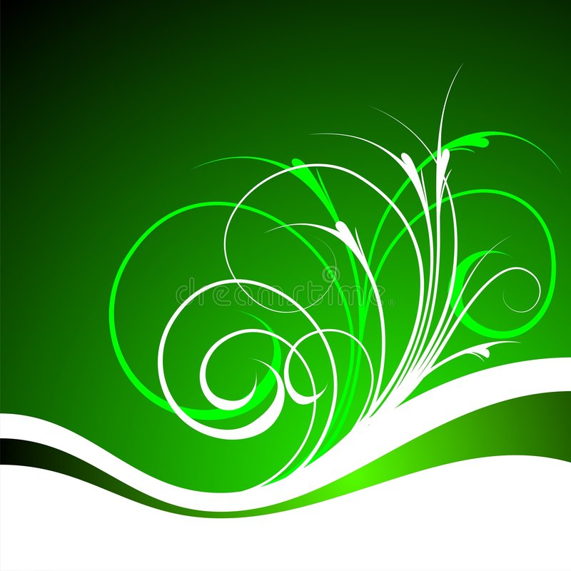 Green vector background. With spring floral elements vector illustration