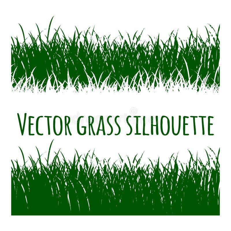 Grass.Green Vector grass set silhouette stock illustration