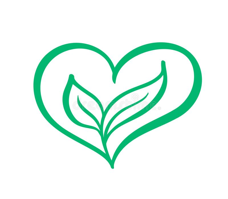 Green vector icon heart shape and two leaves. Can be used for eco, vegan herbal healthcare or nature care concept logo vector illustration