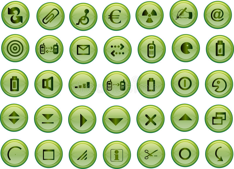Green vector icons royalty free stock photography