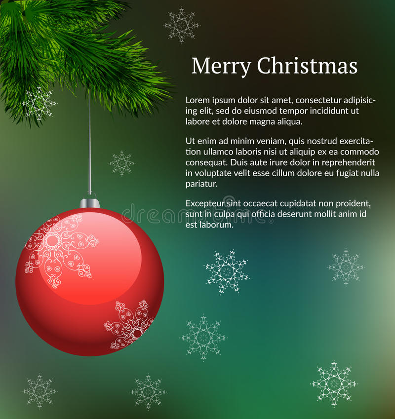 Green vector layout with branch of xmas tree with hanging red glass decoration and snowflakes for christmas design of letter royalty free illustration