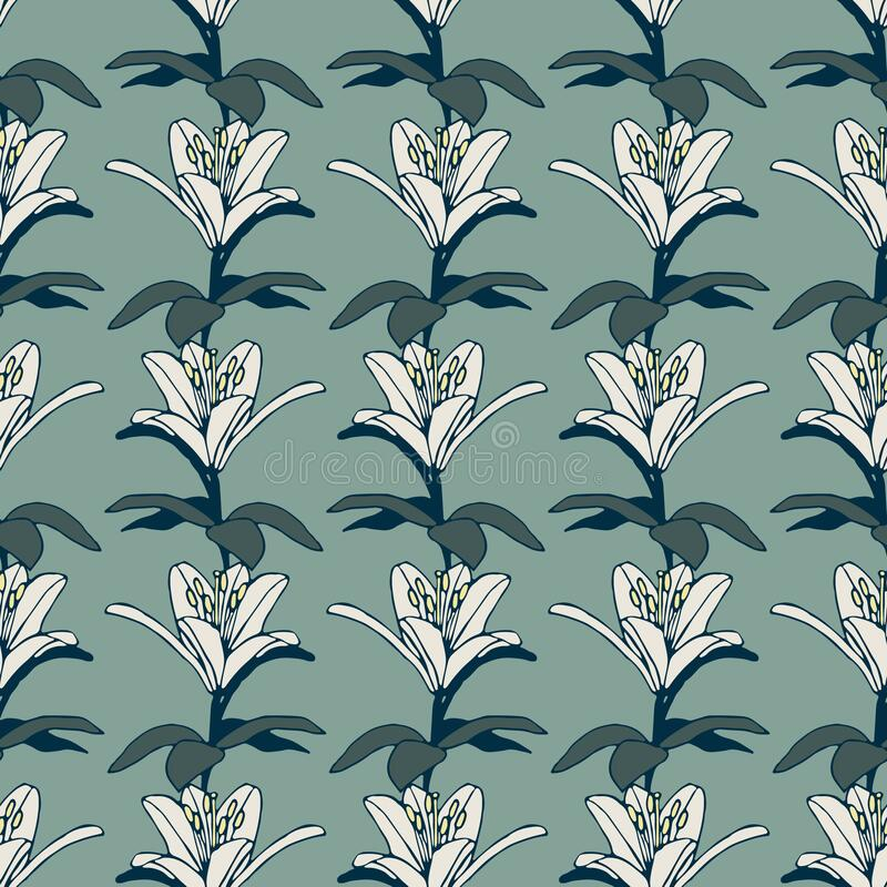 Green vector pattern with white romantic lilies royalty free stock image