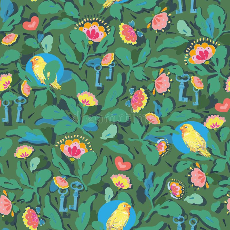 Green pattern with flower and bird. Green vector repeat pattern with flower and bird. Folk art flowers. Surface pattern design vector illustration