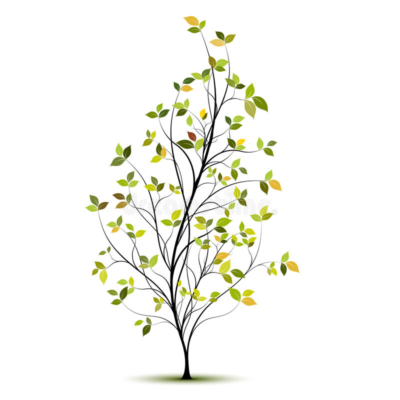 Green vector tree silhouette with leaves stock illustration