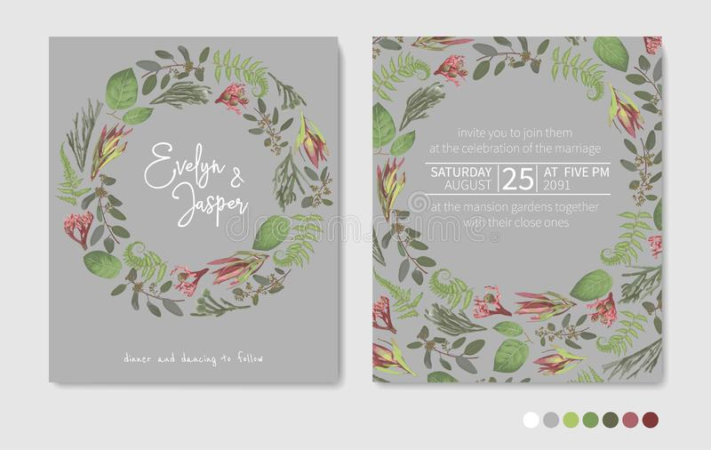 Green vector wreath frame flowers and leaves.Branches, brunia, eucalyptus, leucadendron, gaultheria, salal, jatropha. Botanical. Green on gray background. For stock illustration