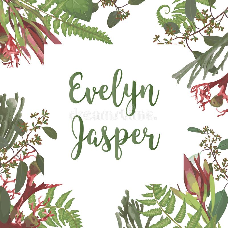 Green vector wreath frame flowers and leaves.Branches, brunia, eucalyptus, leucadendron, gaultheria, salal, jatropha. Botanical. Green on pink background. For vector illustration