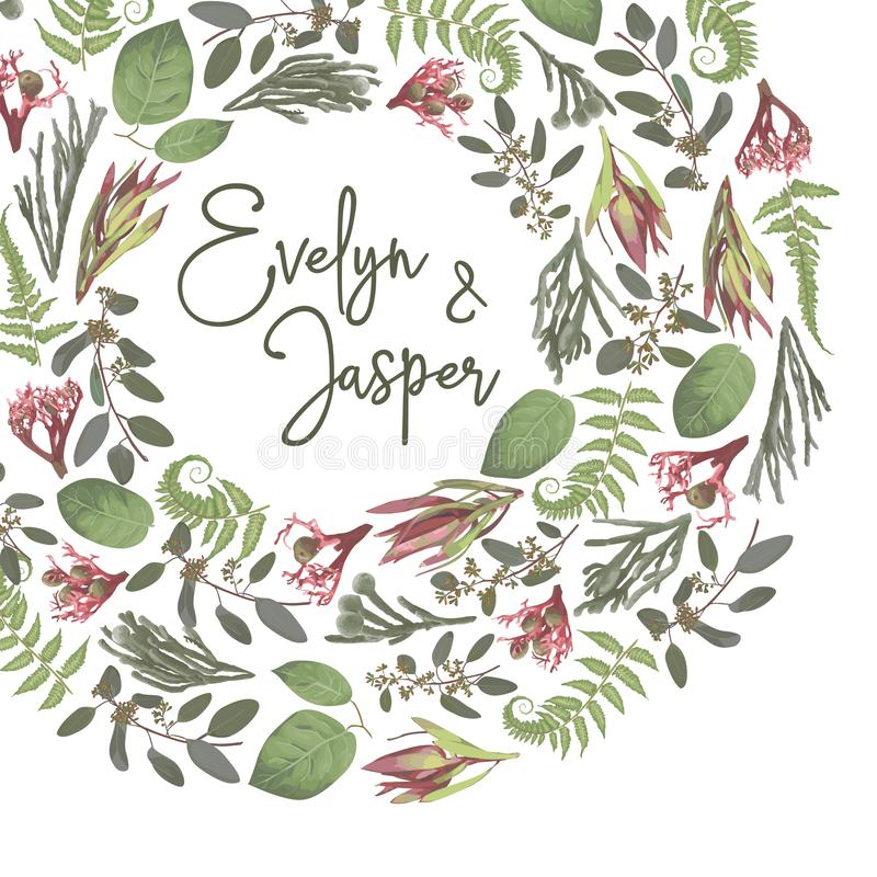 Green vector wreath frame flowers and leaves.Branches, brunia, eucalyptus, leucadendron, gaultheria, salal, jatropha. Botanical. Green on white background. For stock illustration