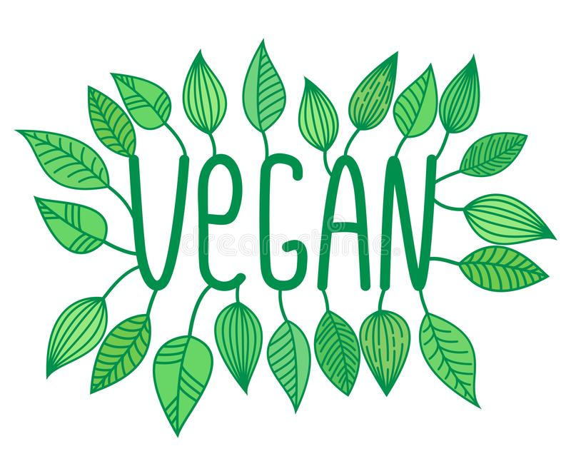 Green vegan sign in with growing leaves, vector label and tag, vegetarian concept sticker. Letters stock illustration
