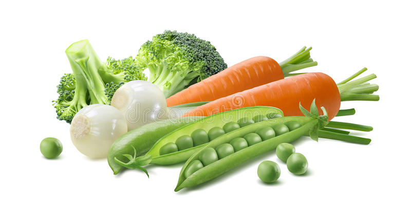 Green vegetable carrot 2 isolated on white background. Green vegetable, spring onion, broccoli, peas, carrot 2 isolated on white background stock photo