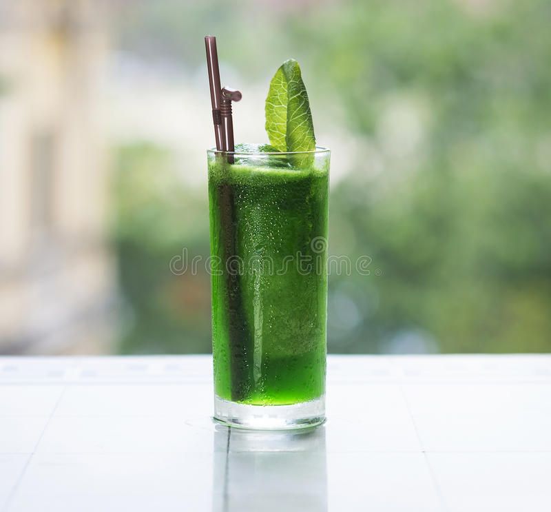 Green vegetable detox juice royalty free stock photo