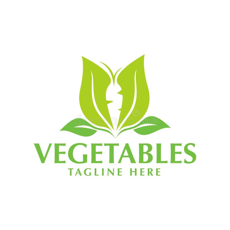 Green Vegetable Logo With Green Leaf And Carrot Stock