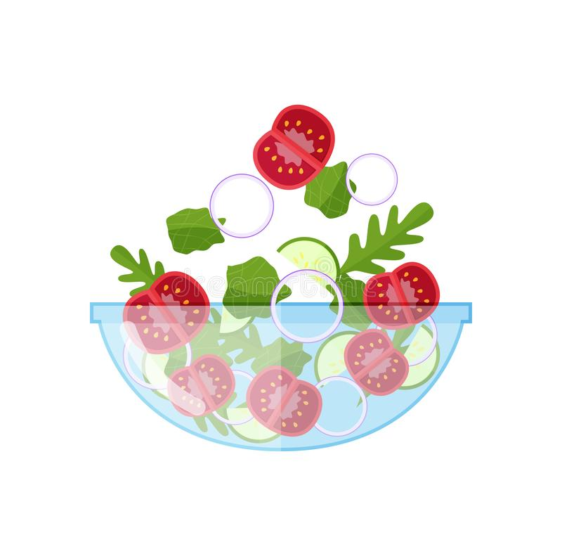 Green vegetable salad with fresh products. Ecologically clean natural products. vector illustration