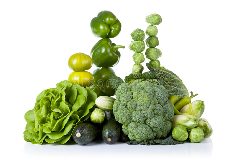 Green Vegetables. Fresh green vegetables isolated on white background royalty free stock photo