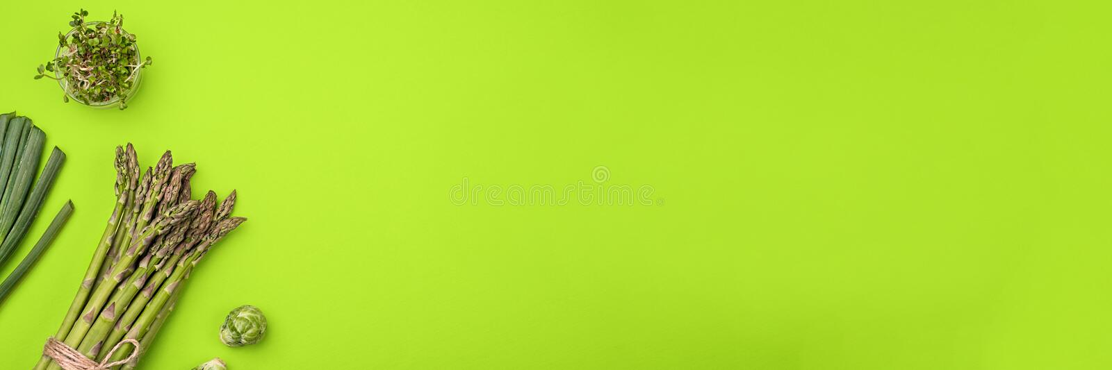 Green vegetables flat lay concept on green background royalty free stock images