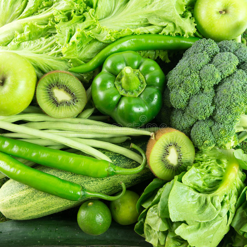 Green vegetables and fruit royalty free stock photos