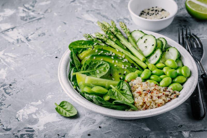 Green vegetarian buddha bowl salad with fresh vegetables and quinoa, spinach, avocado, asparagus, cucumber, edamame beans stock photos