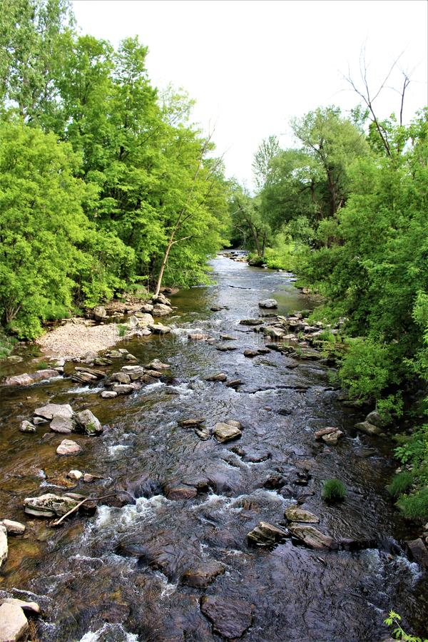 Trout River Stream, Franklin County, Malone, New York, United States. Green vegetation covered Trout River Stream, located in Franklin County, Malone, New York royalty free stock photography