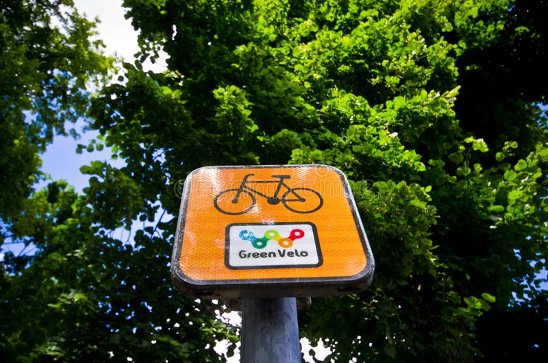 Green Velo bike route sign in eastern Poland stock images