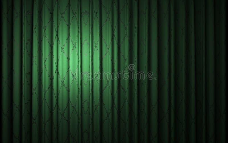 Green velvet curtain opening scene royalty free stock photo
