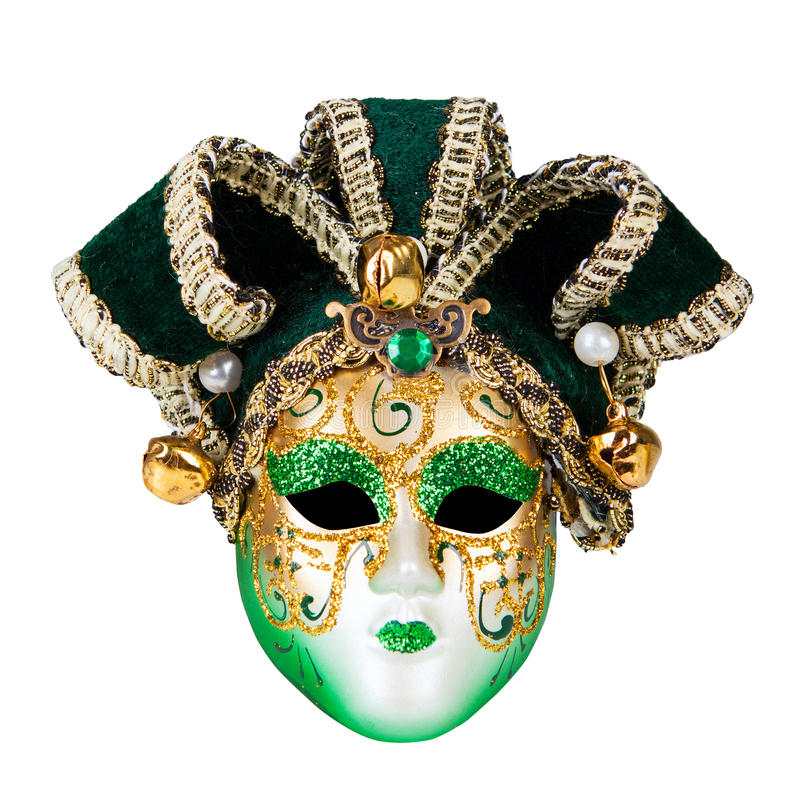 Green Venetian mask royalty free stock photos