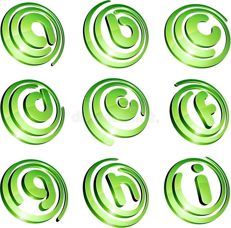 Green vibrant logo set. vector illustration