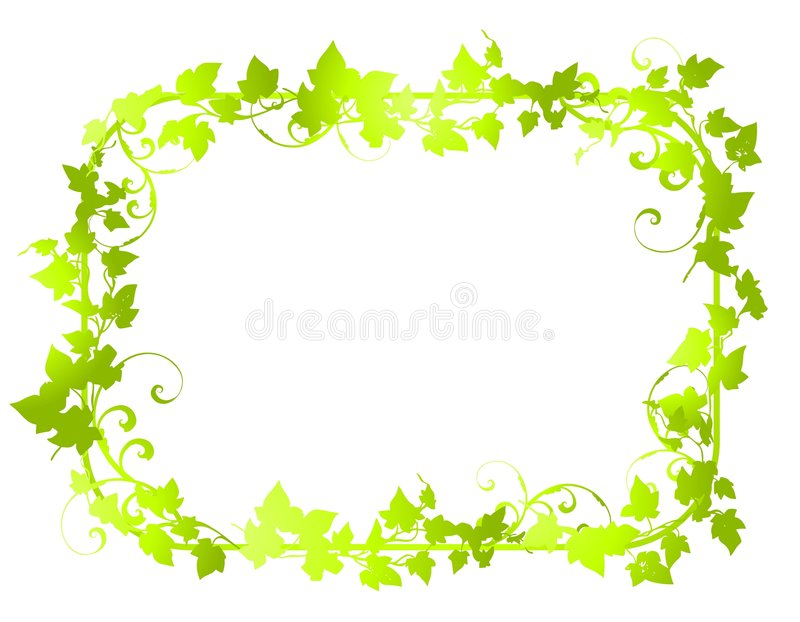 Green Vine Leaf Frame Borders 2 Stock Image