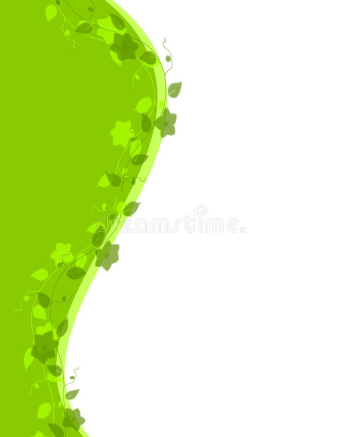 Green Vine Swoosh Border. An illustration featuring a green vine growing up the side of a green swoosh border vector illustration