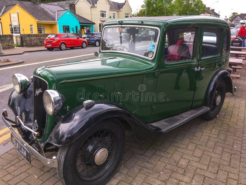 Green Vintage Austin Motor Car stock photography