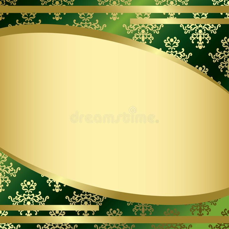 Download Green Vintage Vector Background With Gold Decorations Stock