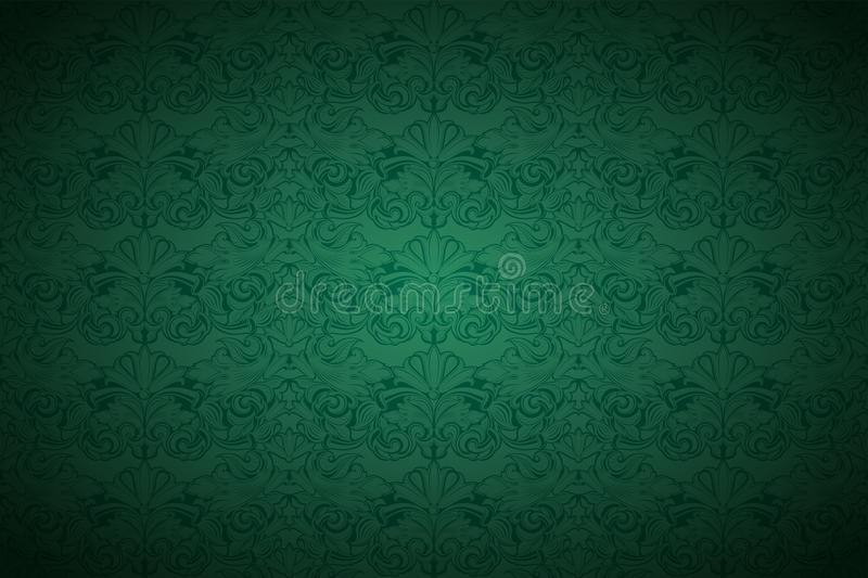 Green vintage background, royal with classic Baroque pattern. Green vintage background , royal with classic Baroque pattern, Rococo with darkened edges stock illustration
