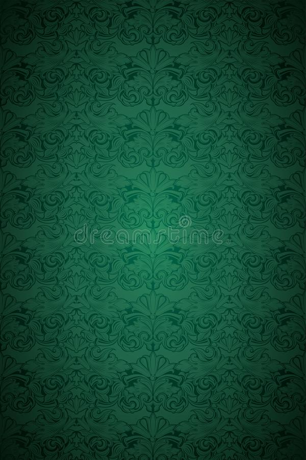 Green vintage background, royal with classic Baroque pattern. Green vintage background , royal with classic Baroque pattern, Rococo with darkened edges royalty free illustration